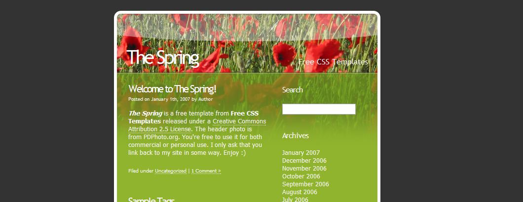 Весенний шаблон для сайта