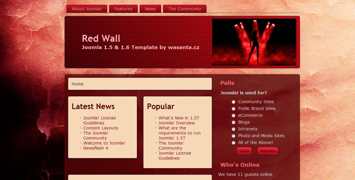 Шаблон «Red Wall» для Joomla