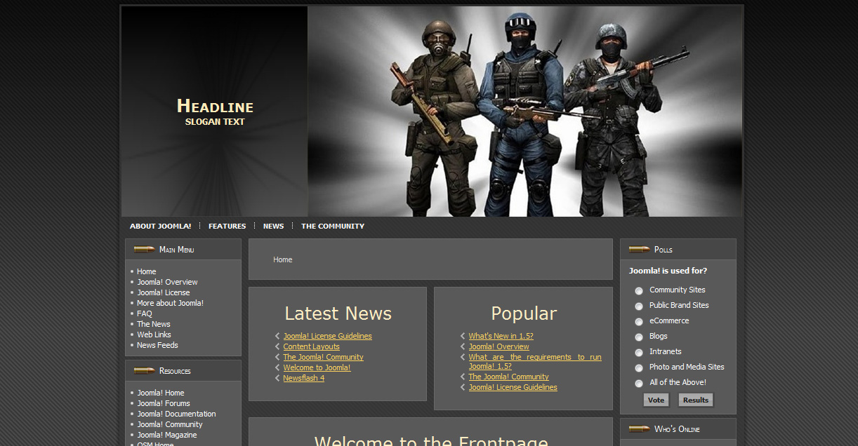 Шаблон «Strike force» для Joomla