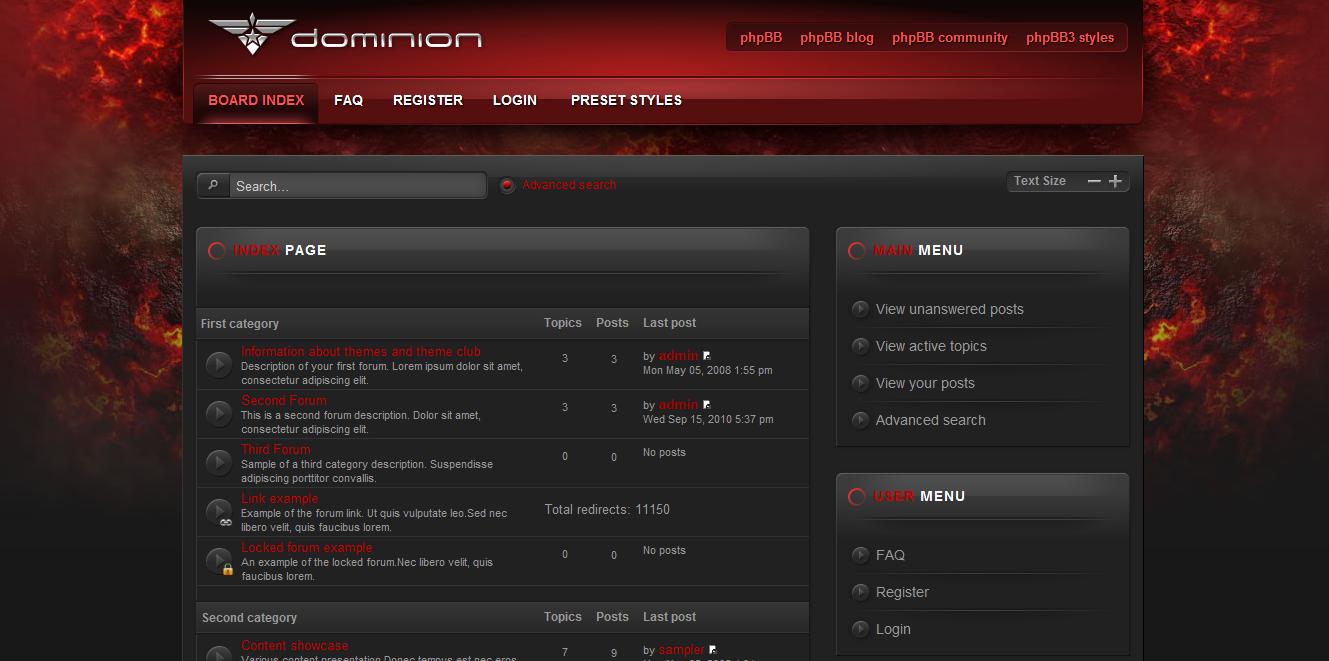 Шаблон Dominion phpBB3