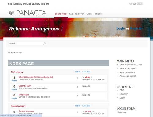 Шаблон Panacea phpBB3
