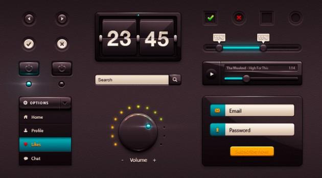 Интерфейс PSD Dark Gloss UI