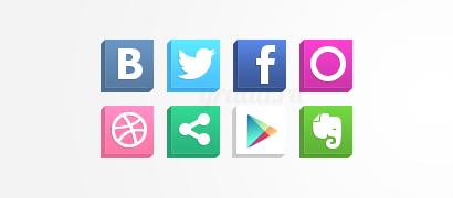 Isometric иконки социальных сетей