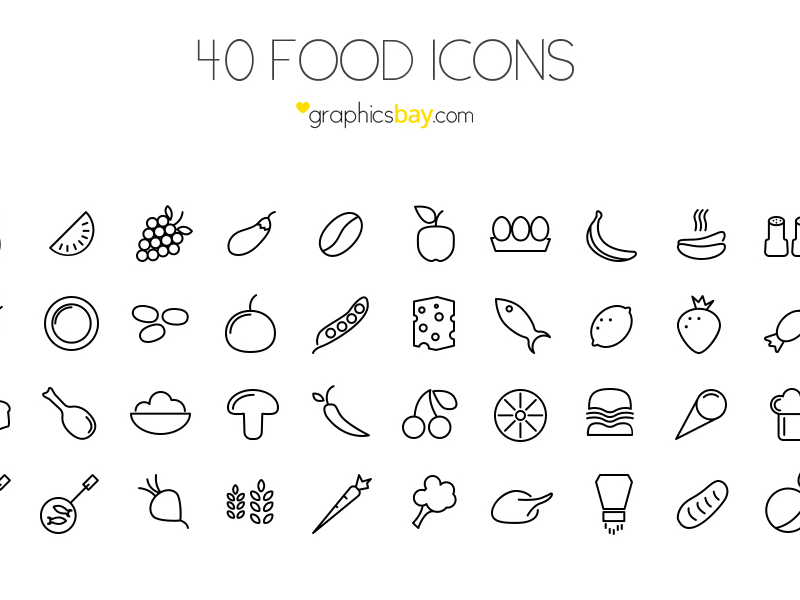 Подборка иконок еды в векторе