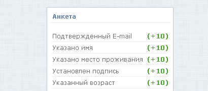 Анкета персональной страницы