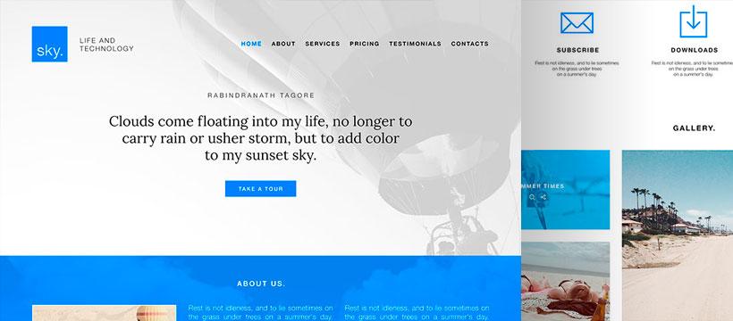 Sky – бесплатный PSD макет для сайта