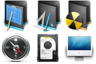 Черные иконки в стиле Mac OS