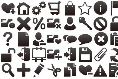 Набор черных иконок мини