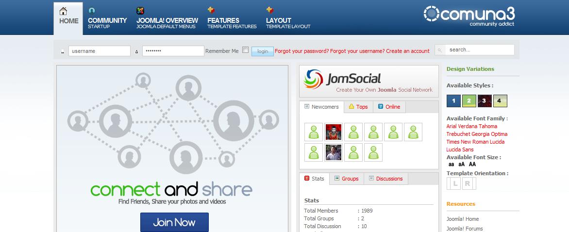 Шаблон социальной сети для Joomla