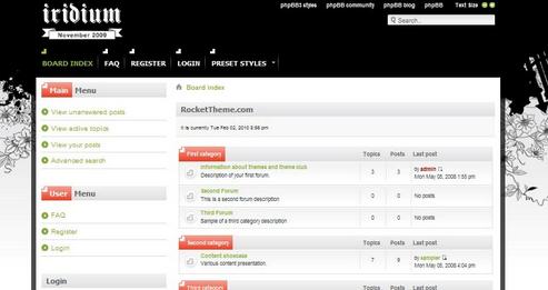 Черный шаблон для форума на phpBB