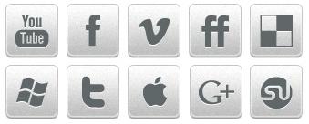 Серые иконки социальных сетей и сервисов закладок