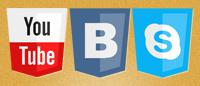 Иконки социальных сетей в виде щитов