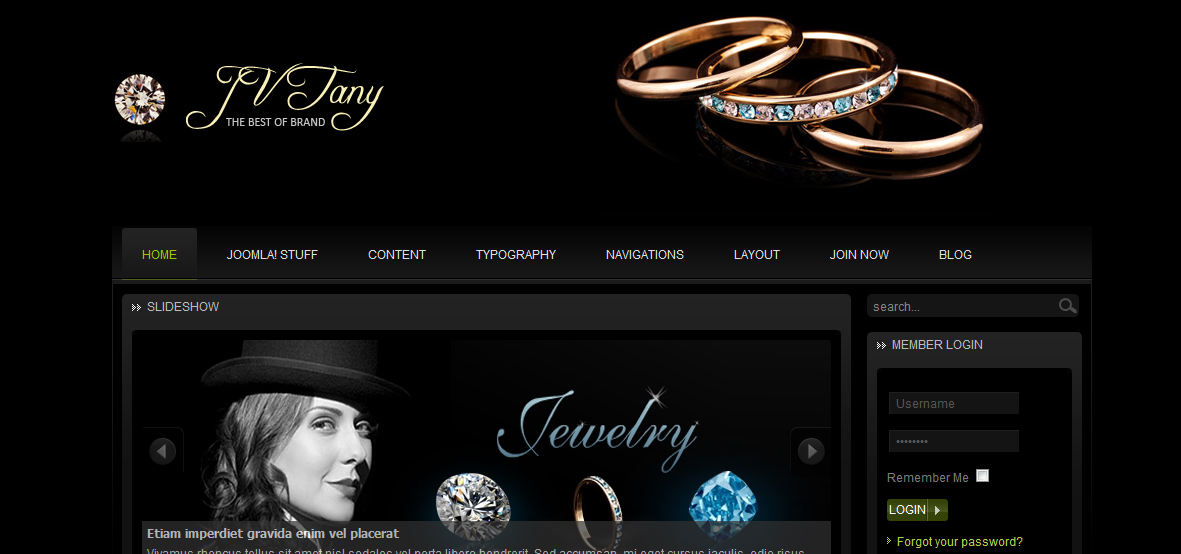 Шаблон сайта ювелирного магазина Joomla